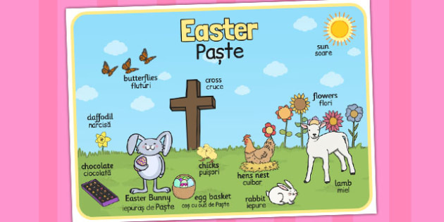Easter Scene Word Mat Romanian Translation - Romanian, easter