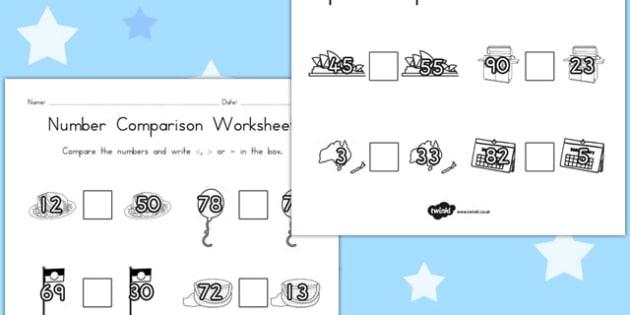 Australia Day Number Comparison Worksheets - australia, number