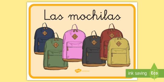 Cartel: Las mochilas - cartel, pancarta, letrero, póster, mochila