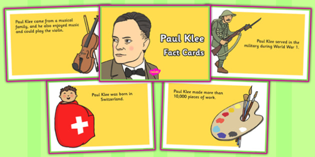 Paul Klee Fact Cards - paul klee, fact, cards, fact cards, facts