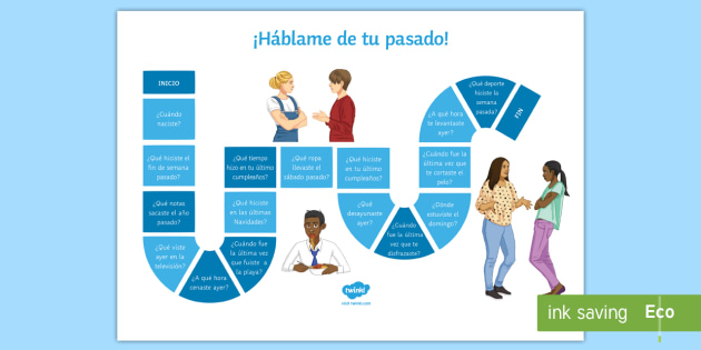 Tell Me About You Preterit Tense Board Game - Spanish, Speaking, Practice, tell, me, about, you, preterit, tense, board, game, events, past