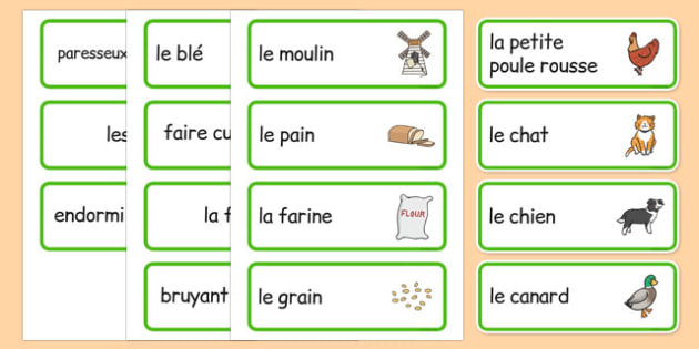 Little Red Hen Word Cards French - french, story books, flash cards, visual aid