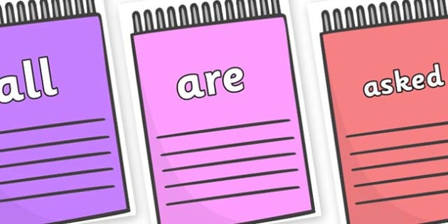 Tricky Words on Notepads - Tricky words, DfES Letters and Sounds, Letters and sounds, display, words