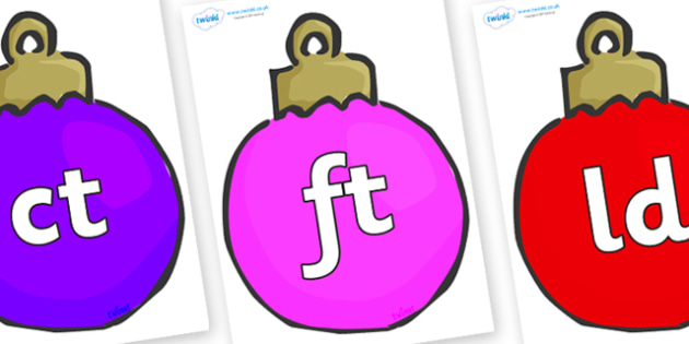 Final Letter Blends on Baubles (Multicolour) - Final Letters, final letter, letter blend, letter blends, consonant, consonants, digraph, trigraph, literacy, alphabet, letters, foundation stage literacy