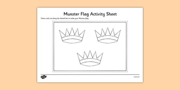 Munster Flag Colouring Sheet - provinces of Ireland, Leinster, Munster, Connacht, Ulster, colouring sheets, flags