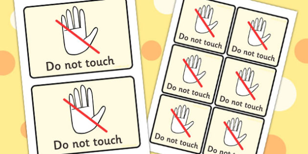 Do Not Touch Visual Support Cards - learning support, SEN, card