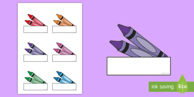 Colorful Crayons Self Registration Labels - Classroom, Display, label, name, tag, child, pupil, register
