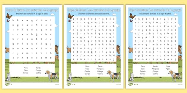 Sopa de letras Los animales de la granja -  EAL, translated, puzzle