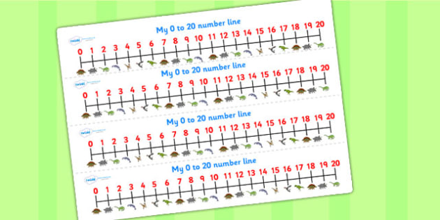 Realistic Dinosaurs Number Lines 0 20 - dinosaur, number lines
