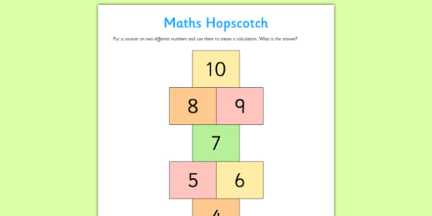 Maths Hopscotch - maths hopscotch, maths, hopscotch, activity, calculations