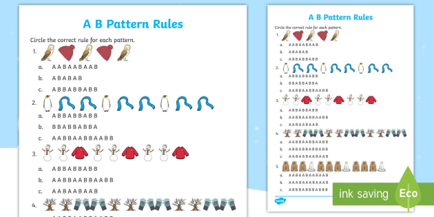 Winter Themed Pattern Rules Activity Sheet - Winter Resources, patterns, AB Patterns, pattern rules, patterning and algebra, patterns and relatio