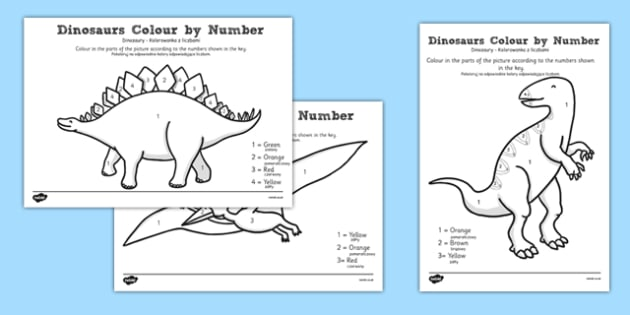 Dinosaurs Colour by Number Polish Translation - bilingual, topic, history, maths