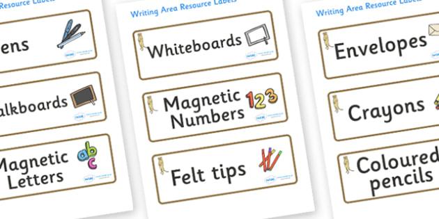 Meerkat Themed Editable Writing Area Resource Labels - Themed writing resource labels, literacy area labels, writing area resources, Label template, Resource Label, Name Labels, Editable Labels, Drawer Labels, KS1 Labels, Foundation Labels, Foundatio