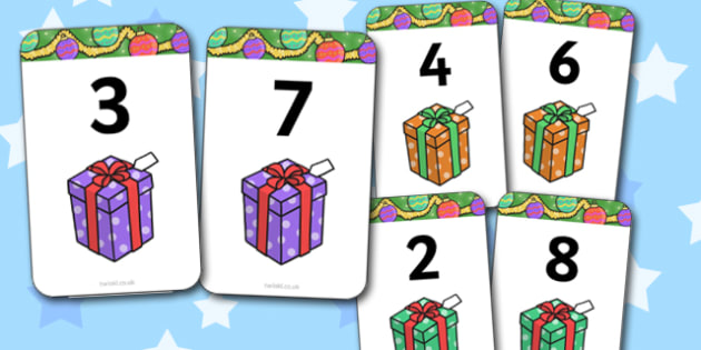 Number Bonds to 10 Present Matching Cards Activity - christmas