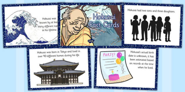 Hokusai Fact Cards - hokusai, fact, cards, fact cards, facts