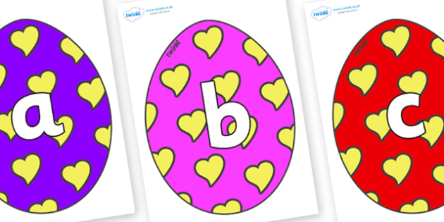 Phoneme Set on Easter Eggs (Hearts) - Phoneme set, phonemes, phoneme, Letters and Sounds, DfES, display, Phase 1, Phase 2, Phase 3, Phase 5, Foundation, Literacy
