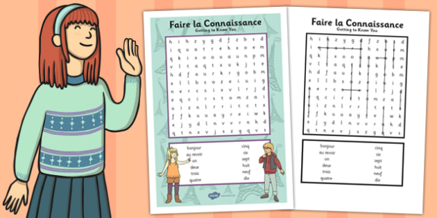 French Year 3 Getting to Know You Word Search - french, year 3