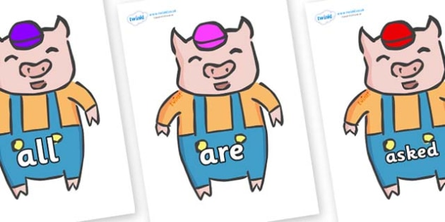 Tricky Words on Little Pig - Tricky words, DfES Letters and Sounds, Letters and sounds, display, words