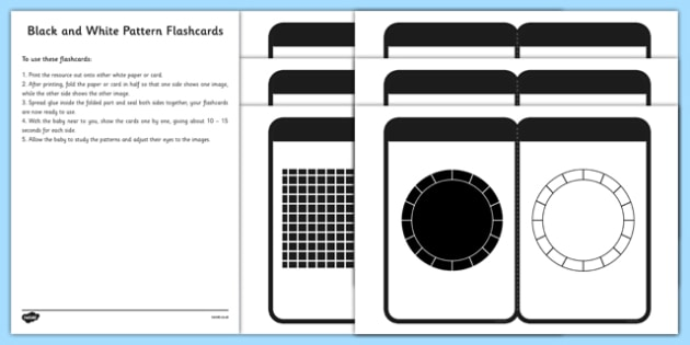 Black and White Pattern Flashcards for Babies - black and white resources for babies, EYFS, baby resources