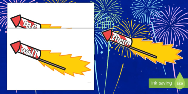 Phase 3 Words on Firework Rockets Cut-Outs