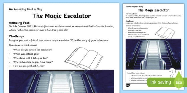 The Magic Escalator Activity Sheet, worksheet