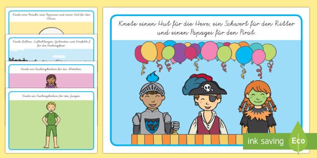 Faschingsbilder zum Ergänzen: Knetunterlagen - Fasching, Knetunterlage, Karneval, Fasnacht, Clown, Verkleidung, Kostüm,German