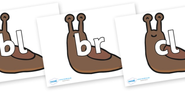 Initial Letter Blends on Slugs - Initial Letters, initial letter, letter blend, letter blends, consonant, consonants, digraph, trigraph, literacy, alphabet, letters, foundation stage literacy