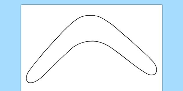 Boomerang Outline Activity Sheet - australia, boomerang, template, outline, design, colouring, worksheet, art, technology