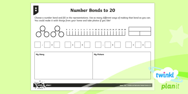 PlanIt Y1 Addition and Subtraction Number Bonds to 20 Home Learning Tasks  - Addition and Subtraction, number bonds, representing, representation, part-whole diagram, bar model,