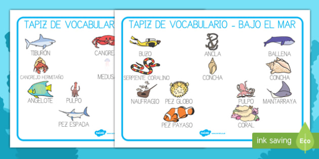 Bajo el mar Tapices de vocabulario