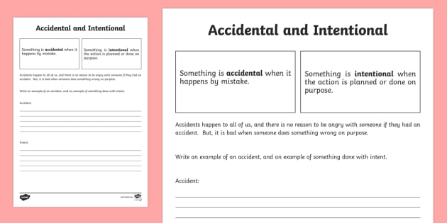 Defining Accidental and Intentional Activity Sheet - Social Skills, definitions, facts, define, accident, intent, accidental, on purpose, intention, inte