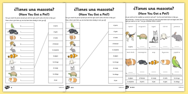 Spanish Tienes Mascotas Activity Sheet - spanish, pets, animals, worksheet