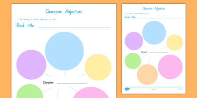 Character Adjectives Activity Sheet, worksheet