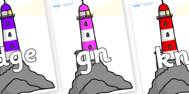Silent Letters on Lighthouses - Silent Letters, silent letter, letter blend, consonant, consonants, digraph, trigraph, A-Z letters, literacy, alphabet, letters, alternative sounds