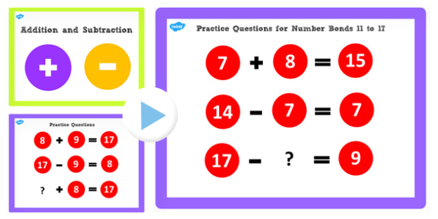 Addition and Subtraction Facts to 17 PowerPoint - add, subtract