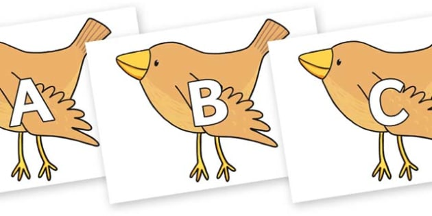 A-Z Alphabet on Sparrow to Support Teaching on The Crunching Munching Caterpillar - A-Z, A4, display, Alphabet frieze, Display letters, Letter posters, A-Z letters, Alphabet flashcards