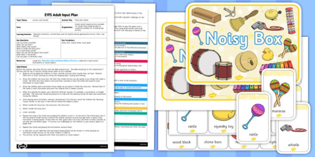 Noisy Box Game Letters and Sounds EYFS Adult Input Plan and Resource Pack