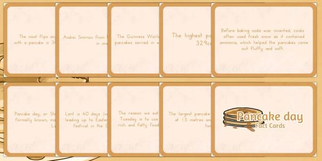 Pancake Day Display Fact Cards - australia, pancake, display