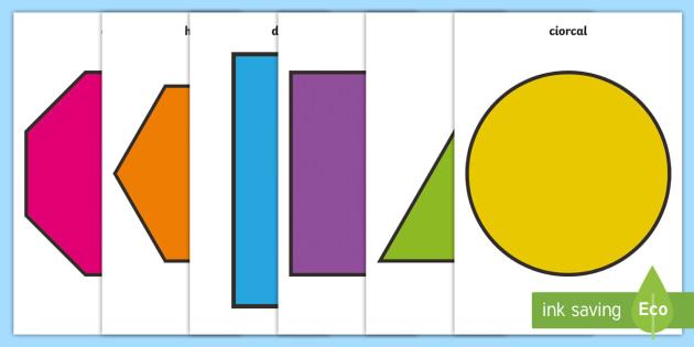 2D Shape A4 Cut Outs Gaeilge - gaeilge, roi, 2d shape, cut outs, shape, 2d, maths, numeracy