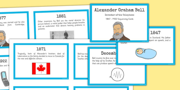 Alexander Bell Sequencing Cards - alexander bell, sequencing