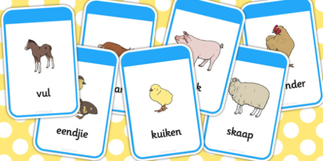 Afrikaans Mother their Young Farm Animals Flash Cards - afrikaans