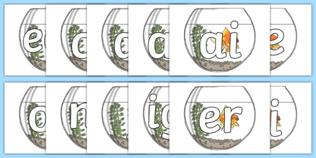 Phase 3 Sounds on Fish Bowls - phase 3, sounds, leaves, display, phas 3, pase 3, phonics, letters and sounds, fish, sea creatures, ks1, efys