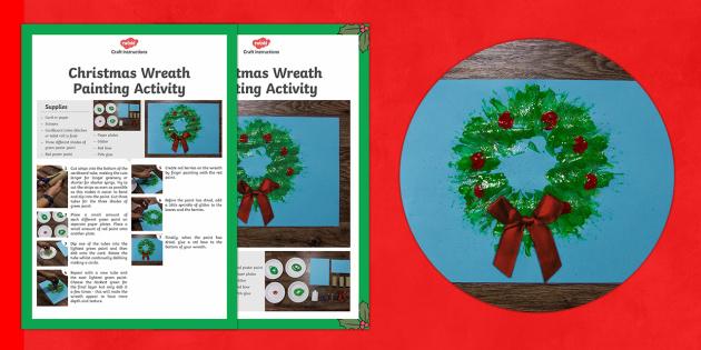 Christmas Wreath Painting Activity - Christmas, Nativity, Jesus, xmas, Xmas, Father Christmas, Santa, wreath, holly, printing, green, dec