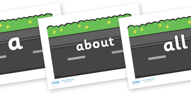 100 High Frequency Words on Roads (Plain) - High frequency words, hfw, DfES Letters and Sounds, Letters and Sounds, display words