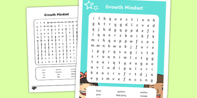 Growth Mindset Lower School Vocabulary Word Search-Australia