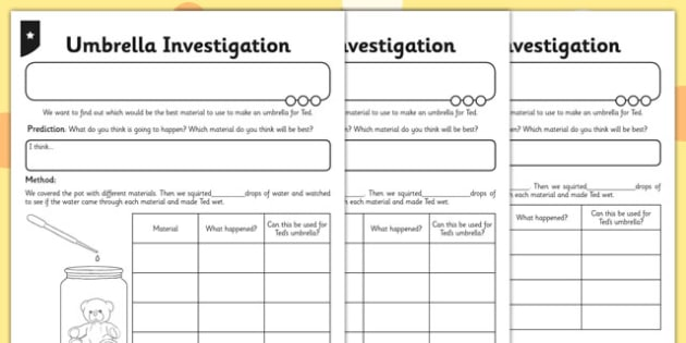 Umbrella Investigation Activity Sheet - umbrella, investigation, activity, worksheet