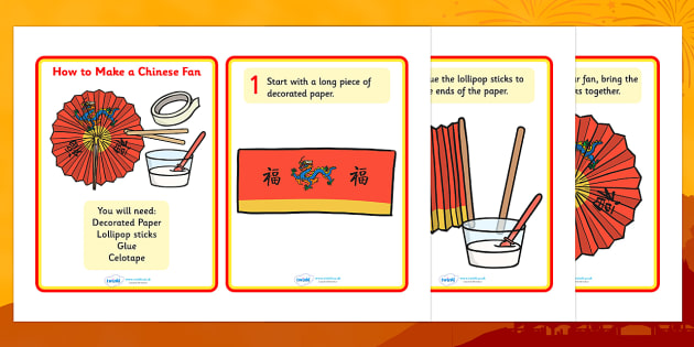 Australia Step By Step Chinese Fan - how to make, craft, chinese fan, chinese new year, instructions
