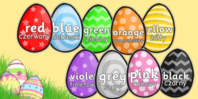 Colour Words on Easter Eggs Polish Translation - polish, colours, colour words, easter, egg