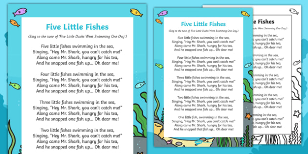 Five Little Fishes Swimming in the Sea Rhyme Poster - fishes