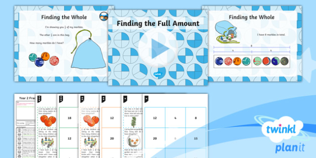 PlanIt Y2 Fractions Lesson Pack Equivalence (2)  - Fractions, inverse, whole, fraction strip, fraction game, 3 in a row game, 1/2, 1/4, 1/3, half, halv